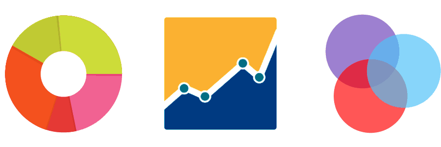Stylized graphic of a pie chart, line graph, and a triple Venn Diagram