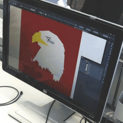 Graphic design project of an eagle opened in Photoshop